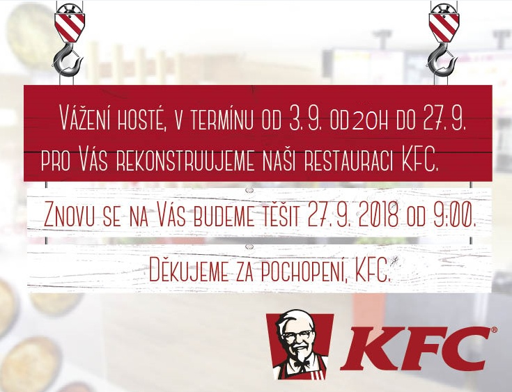75fb004b80b5 Restaurace KFC od 3. do 26. 9. uzavřena z důvodu rekonstrukce