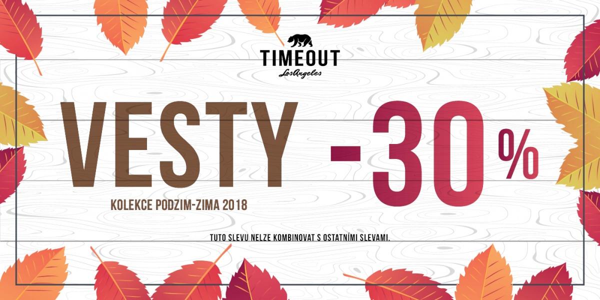 40034aac82ee Sleva -30% na vesty v prodejně TIMEOUT